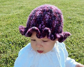 Purple Ruffled Baby Hat