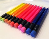 18 Neon Mini Half Hexagon Golf Pencils ~ 5 color Choices ~ assorted