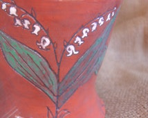 Mary's Tears: Lily-of-the-Valley, Mary Flowers series, Handmade cup, Intaglio in terra cotta and majolica glazes