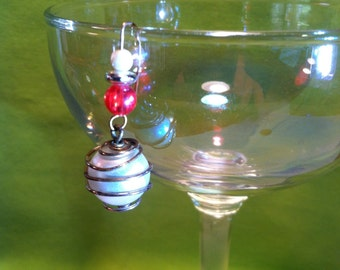 Miniature Ornament with Vintage Spiral Wrapped Glass Pearl