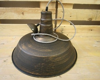 Industrial style copper/brown pendant lamp shade with brown textile cord