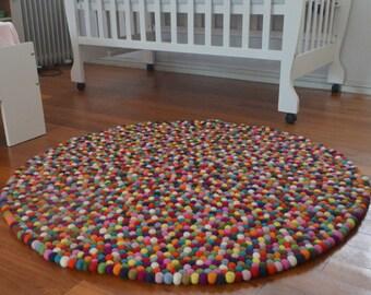 Felt Ball rug pom pom rug hand made freckle rug felt ball rug for children felt ball rug felt ball rug freckle rug children colorful rug
