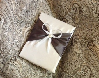 Wedding guest book ivory or white and gray