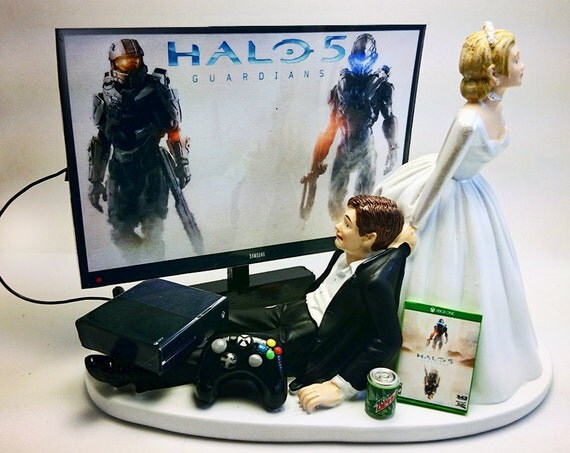 Bride Dragging Groom From Xbox Cake Topper