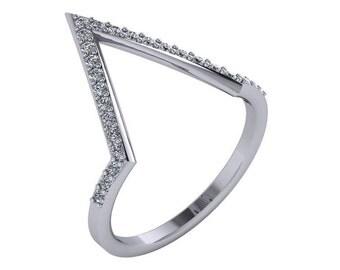 V Shaped Diamond Ring 14K Gold | 14K Gold Diamond V Ring | Chevron Diamond Ring