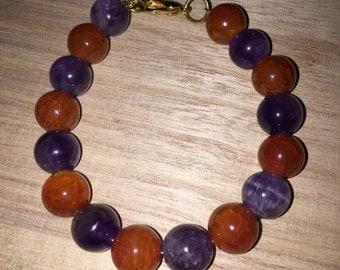 Amethyst & Fire Agate Bracelet