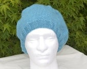 Slouchy Tam  Beret Beanie Womens Winter Hat Teal Hand Knitted Womens Accessory Cashmere Merino