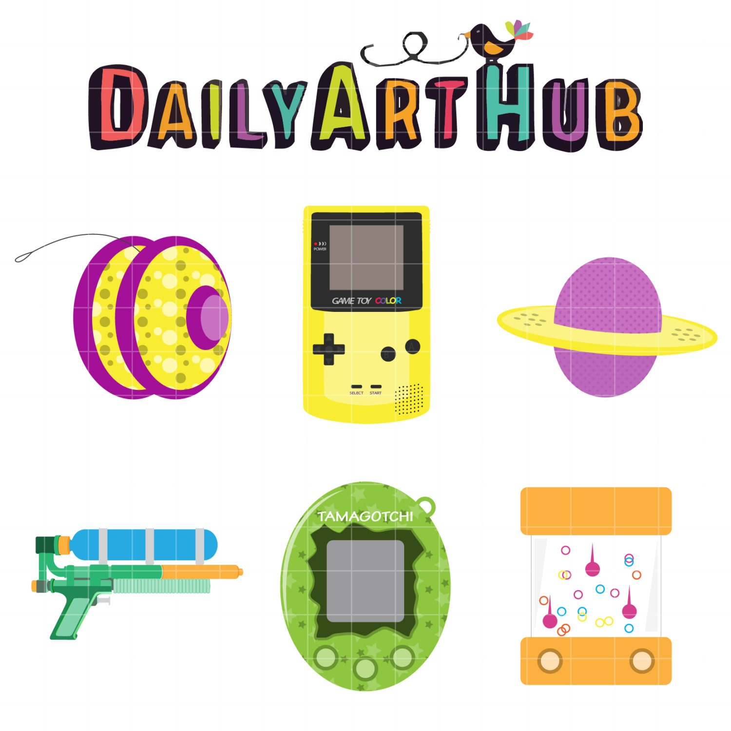 Toys And Games Clip Art : Retro games clip art classic toys clipart by dailyarthub