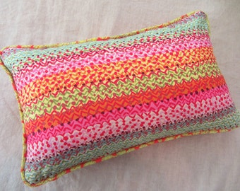 Bright coloured zig zag pattern lumbar cushion cover with piped edge 30x50cm