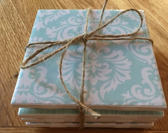 Set of 4 Teal & Green Coasters
