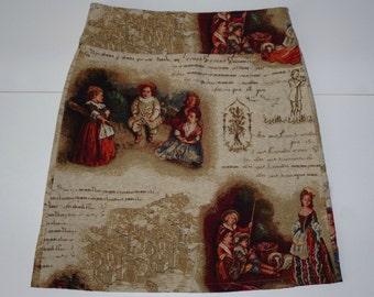 Fairy tales skirt, A-line skirt, print, texts, colorful, size EU 40 (USA 10 - UK 12), cotton, zipper