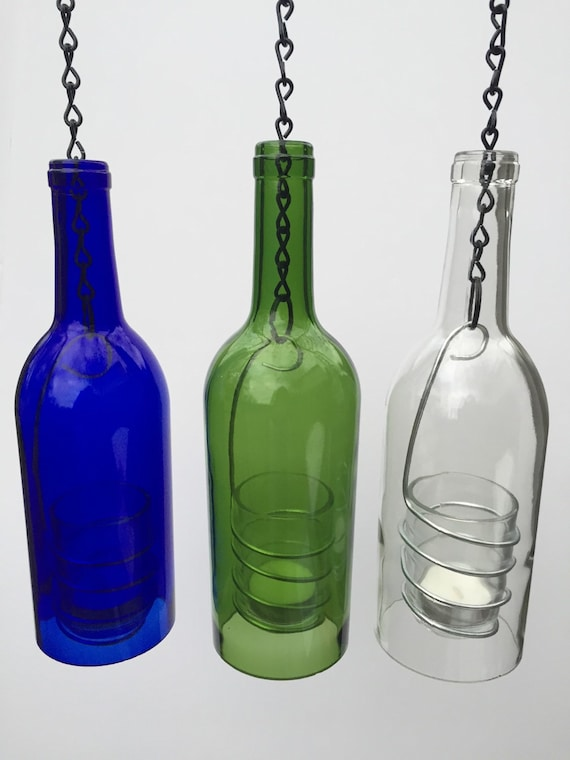 Items similar to hanging wine bottle candle holder for Make candle holder wine bottle