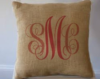 "Burlap Personalized Pillow Monogram Name 18""x18"" - TW"
