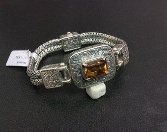 Citrine and Sterling Silver Double Braided Rope Bracelet with Stone Pattern