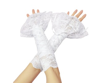 White lace bridal fingerless gloves, bridal gloves, bridesmaid gloves, gloves  wedding or shabby chic style, women's fingerless gloves 1315