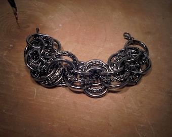 gun metal chain bracelet.