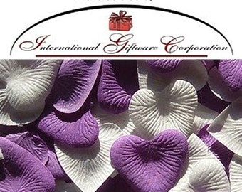 Heart Shaped Silk Rose Petals Wedding Favors Decor - 200 Count - Purple And Ivory
