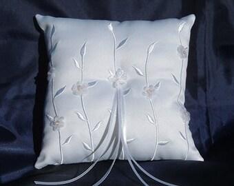 Satin White Bridal Wedding Ring Bearer Pillow - Floral Design - Wedding Supplies