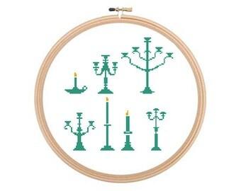 Candlesticks - Cross stitch pattern, Vintage Cross Stitch, Candlestick Pattern, Retro Cross Stitch, Candlesticks Cross Stitch