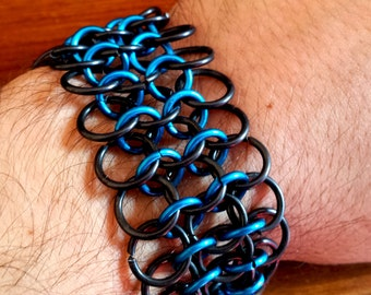 SALE!!! Black and Blue Chainmaille Bracelet -  4 in 1 Chain Mail bracelet