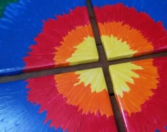 Hand Painted Ceramic Tile Refurbished Tie-dye Coaster