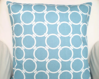 Blue Decorative Throw Pillow Covers, Cushions, Regatta Blue White Linked Couch Pillows Throw Pillow, Circle Chain Link One or More All Sizes