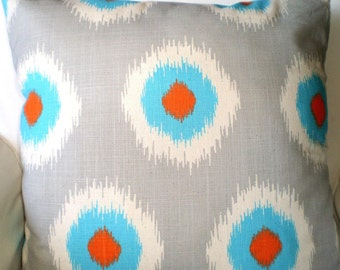 Orange Aqua Gray Pillow Covers, Decorative Throw Pillows, Throw Pillows, Cushion Covers, Couch Pillows, Ikat Domino, One or More All Sizes