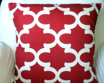 Red Pillow Covers, Decorative Throw Pillow, Cushion Cover, Red Off White Throw Pillow Couch Bed Pillow Moroccan, Fynn, One or More All Sizes