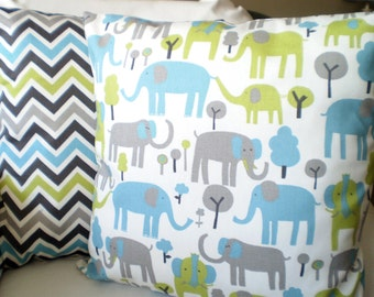 Blue Green Gray Elephant Pillow Covers, Nursery Pillows, Decorative Pillow, Cushion Cover, Chevron Trunk Tails, Grey, Combo Pair of 18 x 18