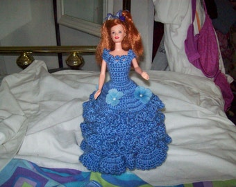 Hand Crocheted Barbie Toilet Tissue Cover Doll In Blueberry
