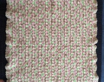 Pink green brown blanket