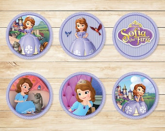 Sofia the First Cupcake Toppers Purple Dots // Sofia the First Stickers // Sofia the First Party // Sophia the First