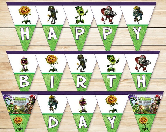 Plants Vs Zombies Birthday Banner Garden Warfare // Plants Vs