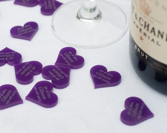 Personalised 25mm Purple Acrylic Heart Wedding Table Decorations, Vintage Favours.