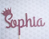 Sparkly Glitter Name Cake Topper with Crown for Birthdays, Baby Showers, Parties
