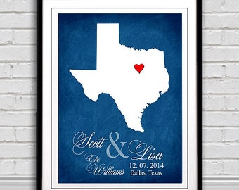 Wedding Gift Personalized State Map Print - Your Choice of Any State, Bride and Groom Names, Wedding Date Added etc. Your Choice of  Colors