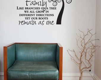 Inspirational Family Wall Vinyl, Tree Vinyl, Family Wall Quote