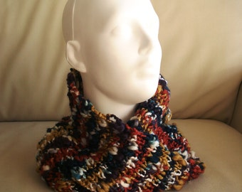 Hand knitted wool scarf multicolor