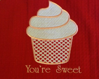 Valentine Cupcake Dishtowel Applique