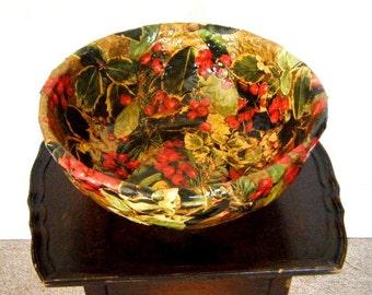 Vintage Handmade Papier Mache Christmas Bowl