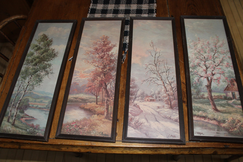 Vintage C Regan Four Seasons Framed Prints Litho Summer Fall