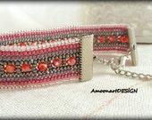 Seed Bead Bracelet Handmade Pink Beaded Bracelet Beadwork Jewelry  Harringbone Stitched  Bracelet (B-2)