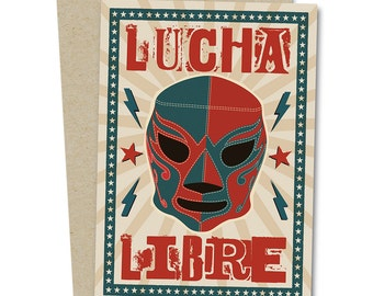 Lucha Libre Mexican Wrestler Greetings Card