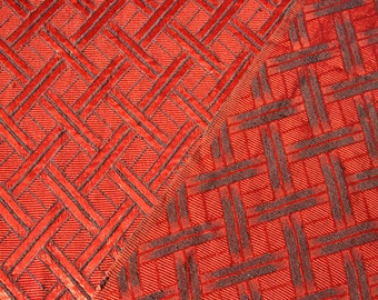 Vintage 1960s 1970s red black geometric design curtain. Fabric has great sheen. 115cm wide 196cm long.