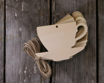 10 x Wooden Tea Cup Craft Shape 3mm Ply