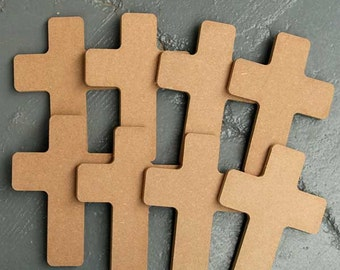 8 x MDF Wooden Cross Craft Shapes