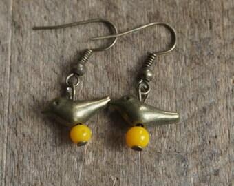 Funny earrings with little birds
