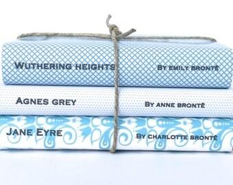 Blue books - Decorative books - Custom book covers - Bronte - Jane Eyre - Wedding prop - Custom book jackets - Book cover - Interior Design