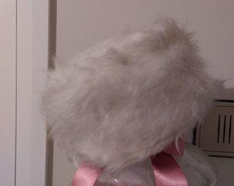 Vintage Fur Mink Pill Box Hat 1960's White/Grey Original Authentic