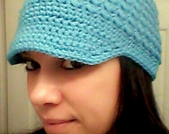 Newsboy hat with visor, crochet, infant to adult sizes